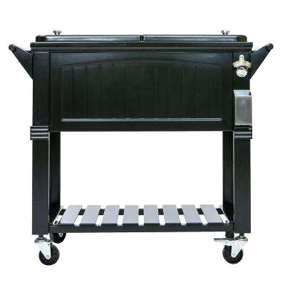 ice chest coolers on stands qt black antique furniture style rolling patio cooler