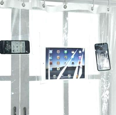 shower phone transparent bath shower curtain phone tablet holder clear shower curtain with pockets for touchscreen devices from